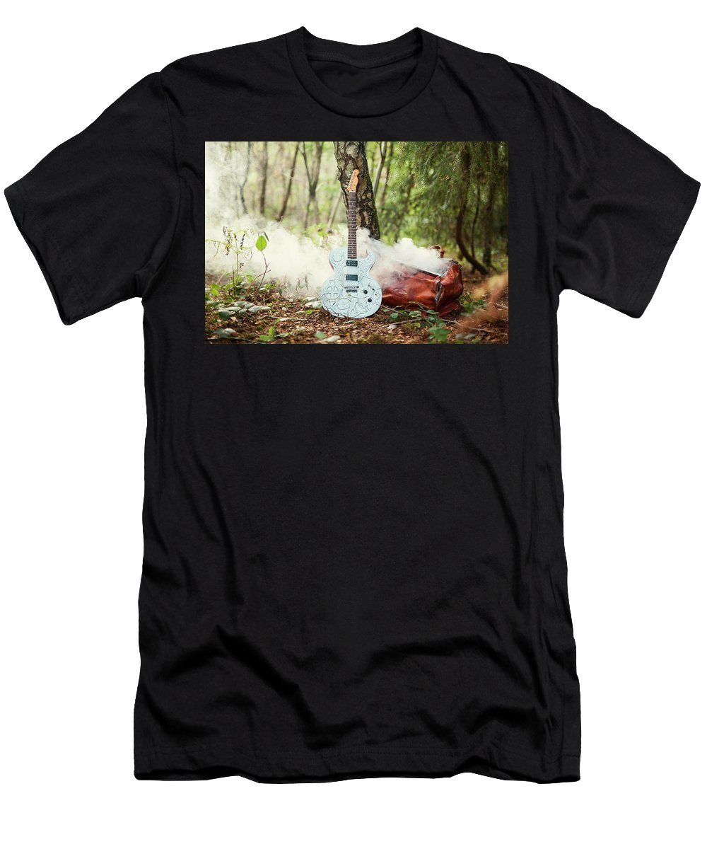Guitar Men's T-Shirt (Athletic Fit) featuring the photograph Traveller's Bag by Rhii Photography