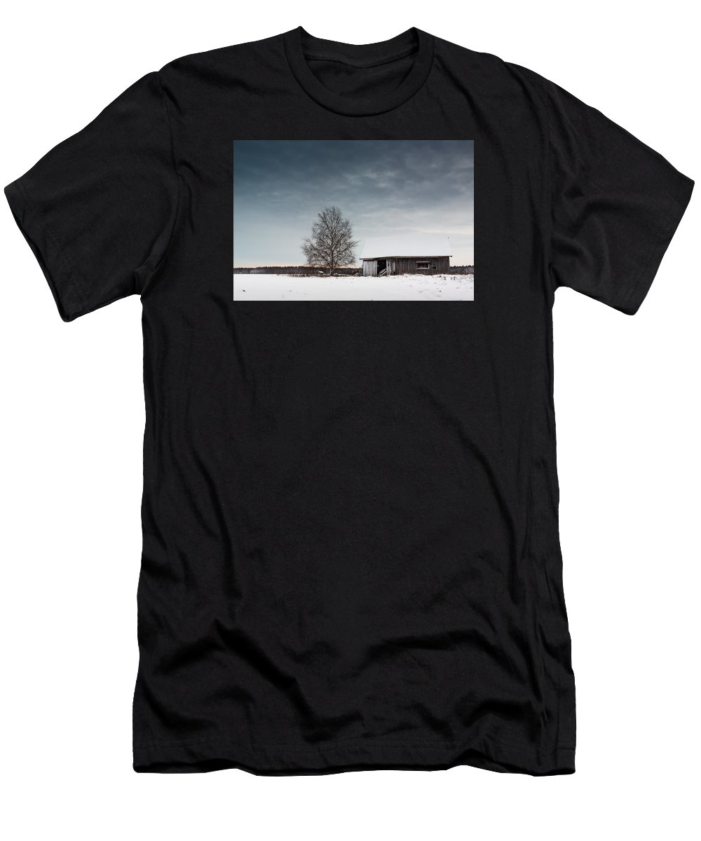 Finland Men's T-Shirt (Athletic Fit) featuring the photograph Tree And A Barn by Jukka Heinovirta