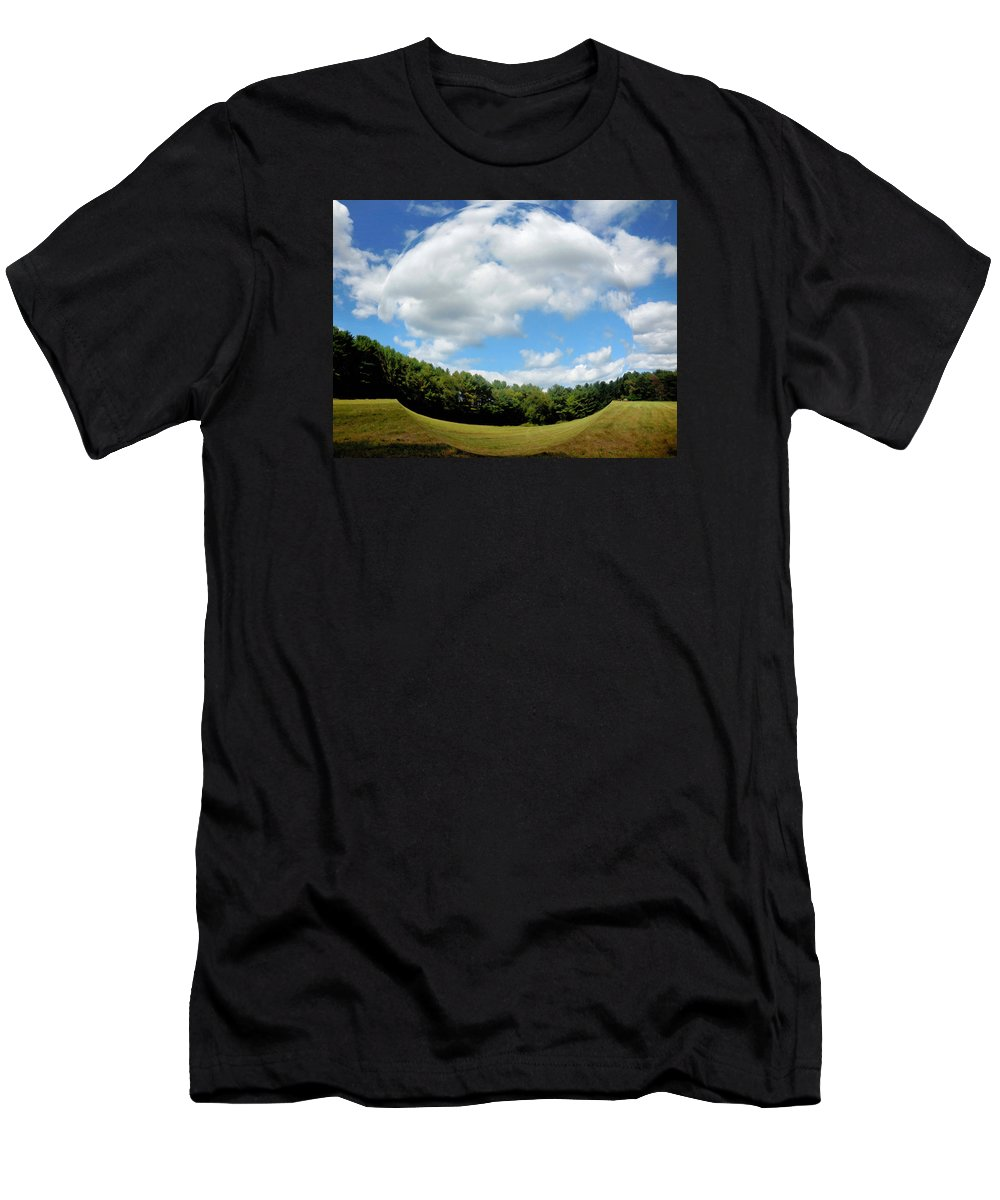Tree And Blue Sky Men's T-Shirt (Athletic Fit) featuring the painting Tree And Blue Sky by Jeelan Clark