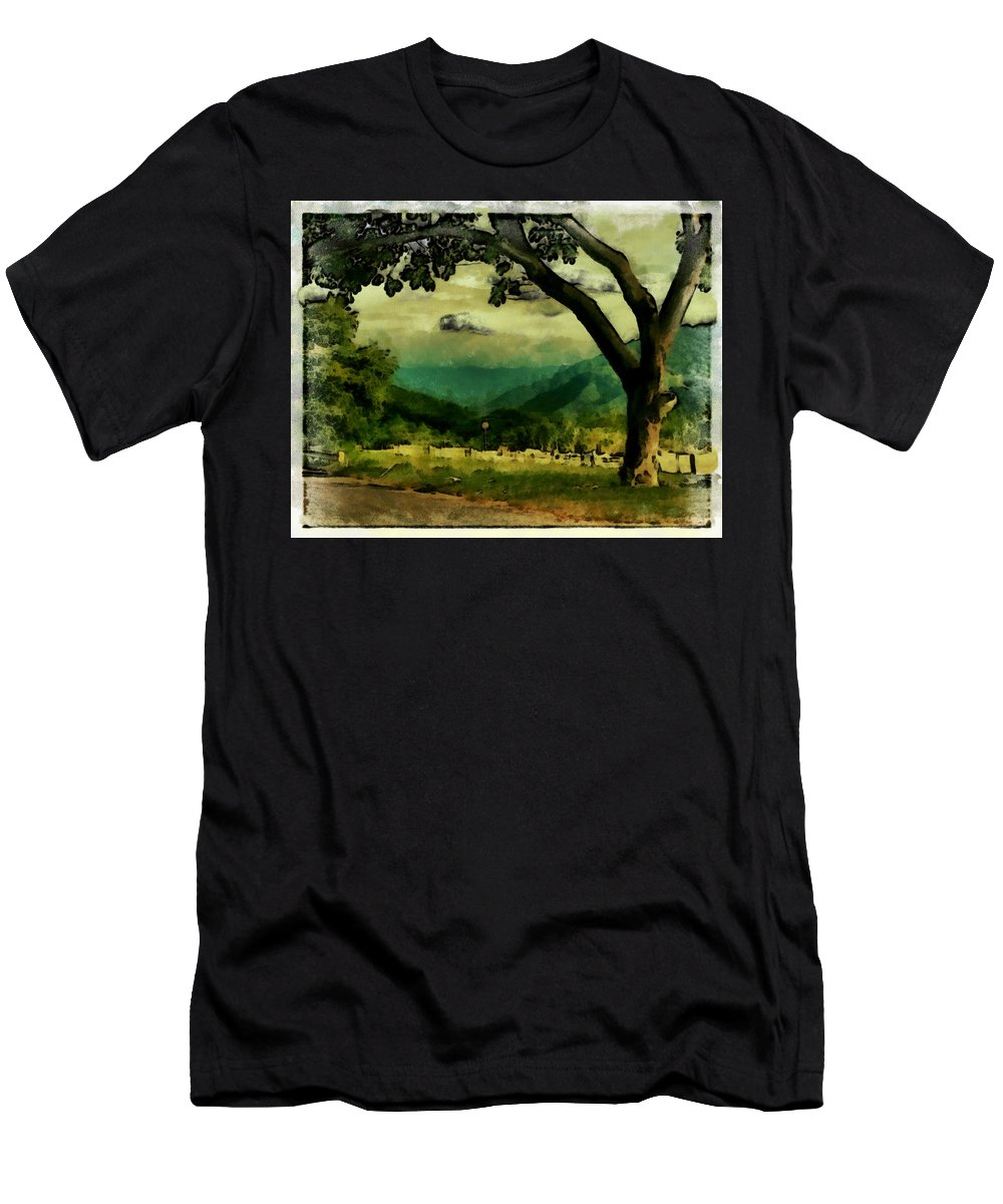 Men's T-Shirt (Athletic Fit) featuring the photograph Tree And Mountain by Galeria Trompiz