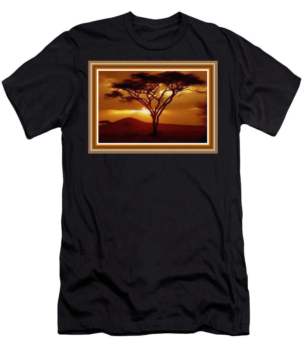 Rural Men's T-Shirt (Athletic Fit) featuring the painting Tree At Sunset. L B With Decorative Ornate Printed Frame. by Gert J Rheeders