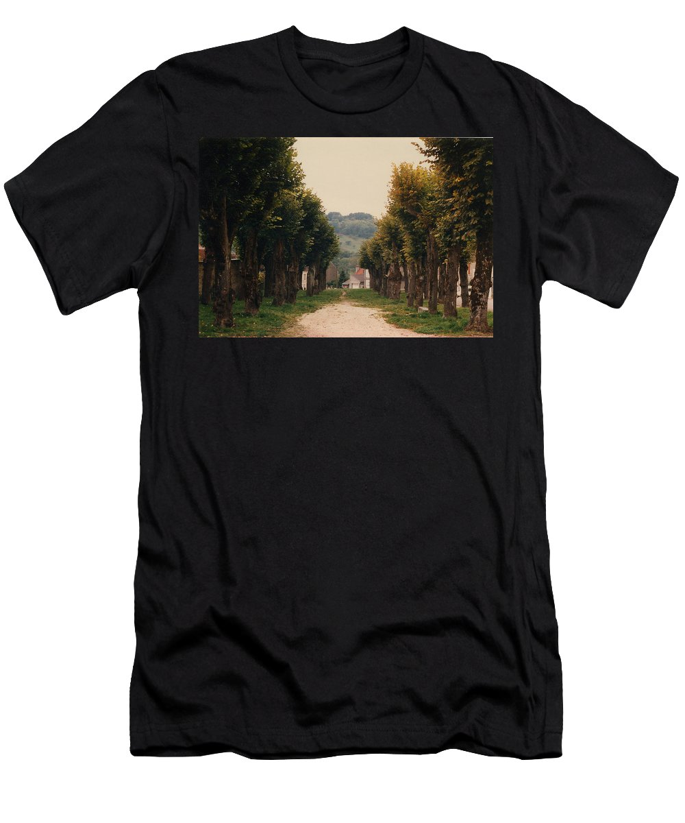 Trees Men's T-Shirt (Athletic Fit) featuring the photograph Tree Lined Pathway In Lyon France by Nancy Mueller