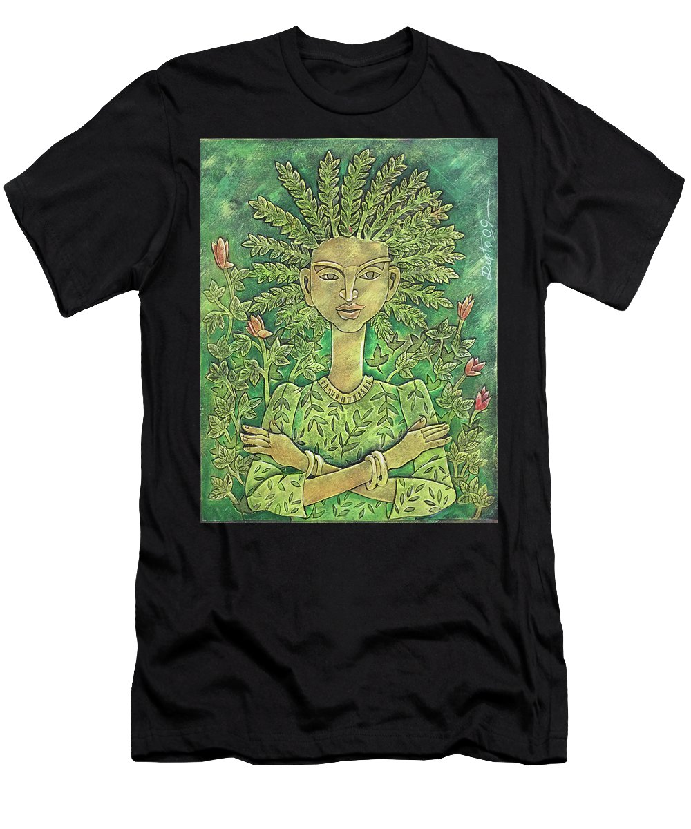 Dipto Narayan Chattopadhyay Men's T-Shirt (Athletic Fit) featuring the painting Tree Of Life by Dipto Narayan Chattopadhyay