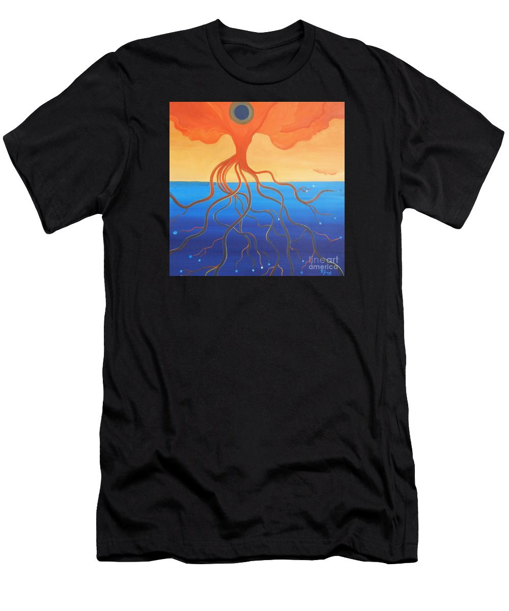 Weird Paintings Men's T-Shirt (Athletic Fit) featuring the painting Tree Of Life Interpretation by Reb Frost