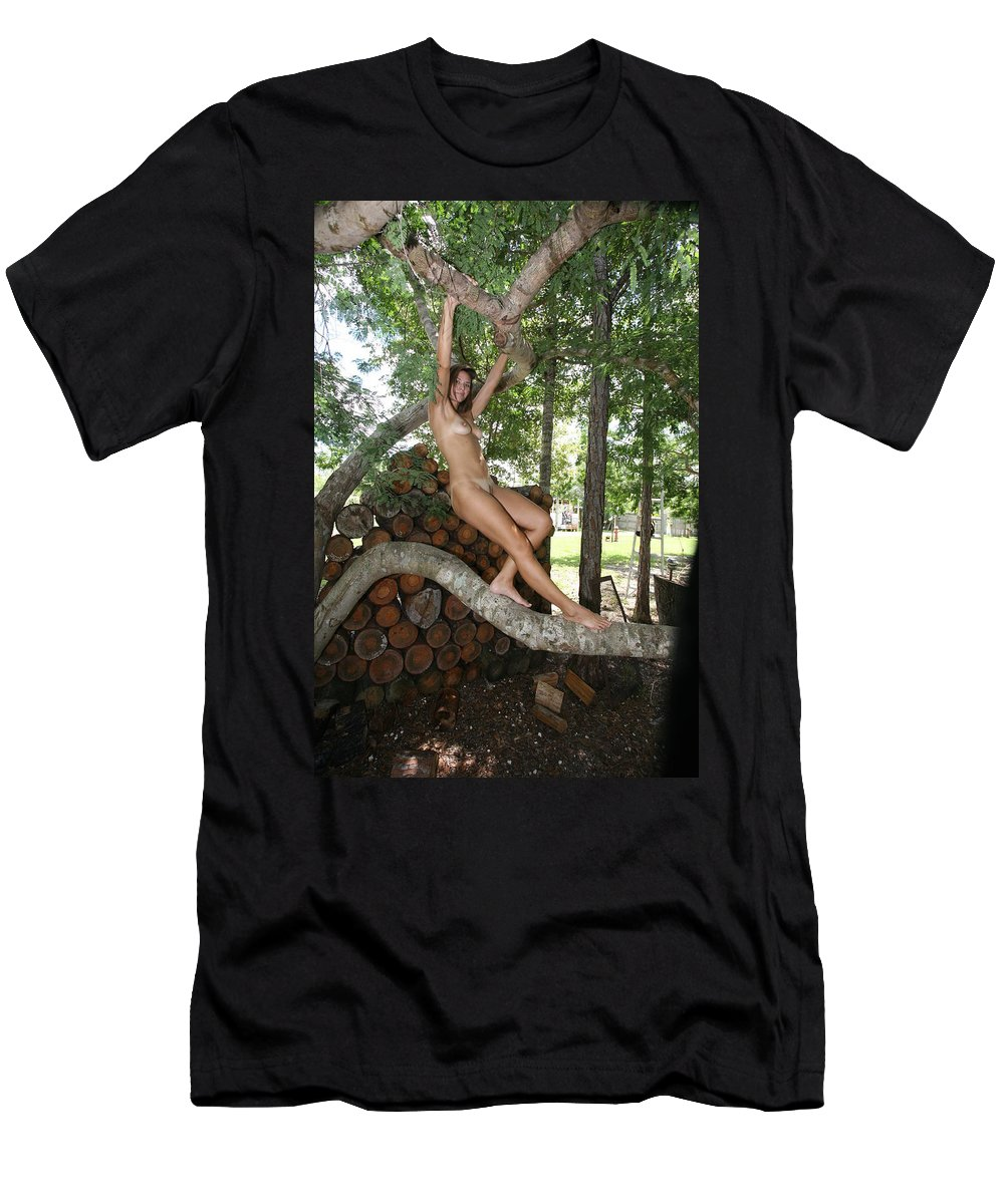 Florida Everglades Trees Female Nude Glamorous Exotic Environmental Portraits Men's T-Shirt (Athletic Fit) featuring the photograph Trees 347 by Lucky Cole