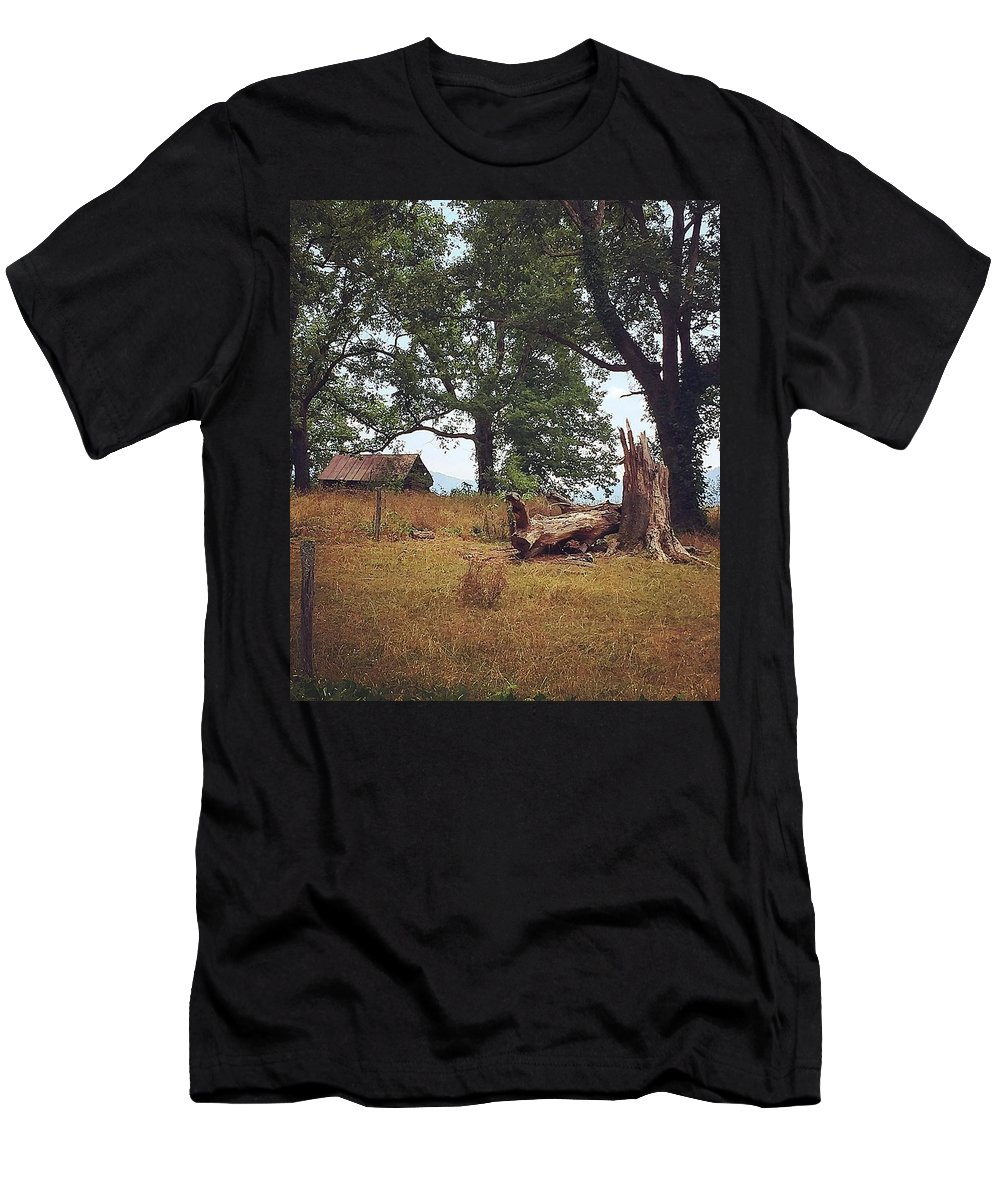 Trees Men's T-Shirt (Athletic Fit) featuring the photograph Trees And Cabin by Laura Susan Photography