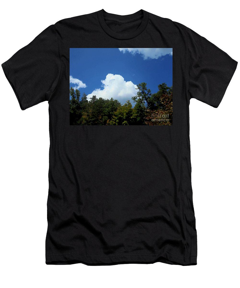 Trees Men's T-Shirt (Athletic Fit) featuring the photograph Trees, Clouds, And Sky by Michael Potts