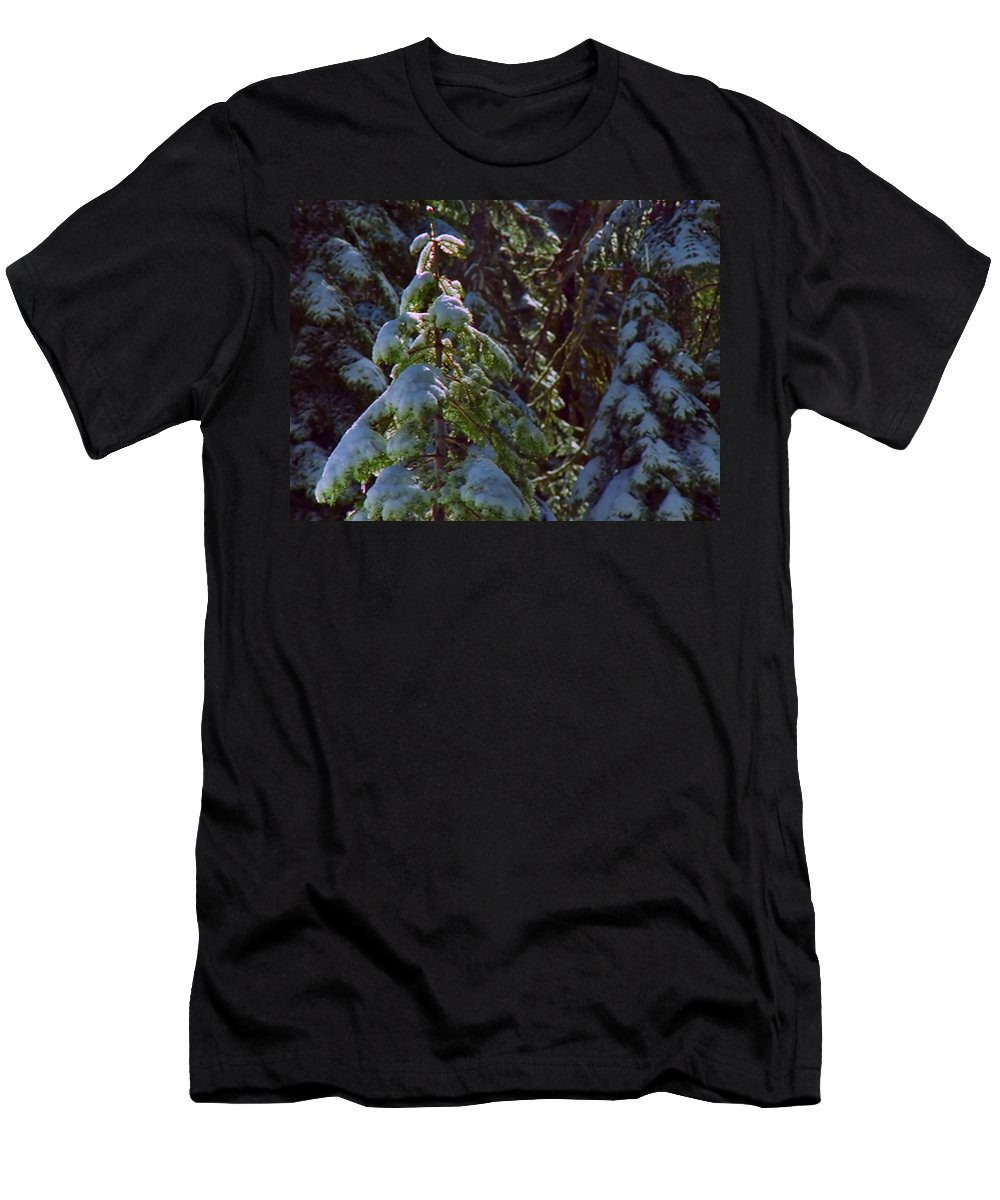 Ice Men's T-Shirt (Athletic Fit) featuring the mixed media Trees In Deep Snow Making A Ghost Show by Navin Joshi