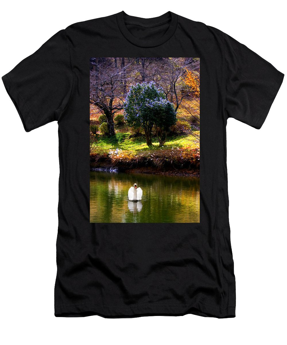 Swan Men's T-Shirt (Athletic Fit) featuring the photograph Trees In Japan 8 by George Cabig