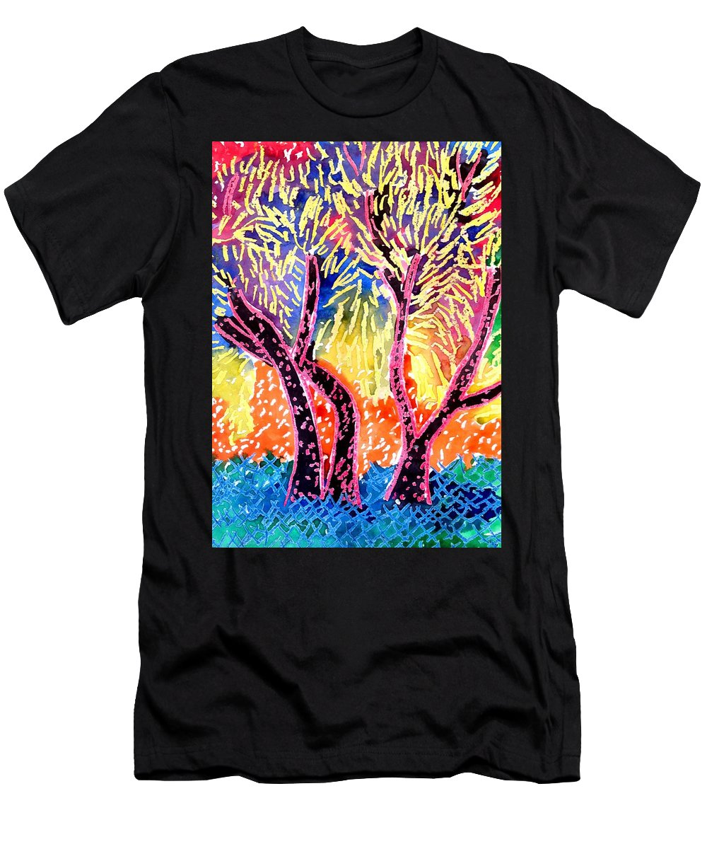 Trees Men's T-Shirt (Athletic Fit) featuring the drawing Trees In Summer by Jean Stark