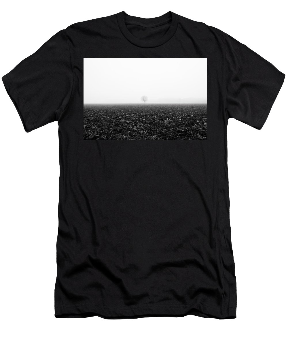 Calm Men's T-Shirt (Athletic Fit) featuring the photograph Trees In The Fog 1 Of 4 - Lombardy / Italy by Massimo Mazza
