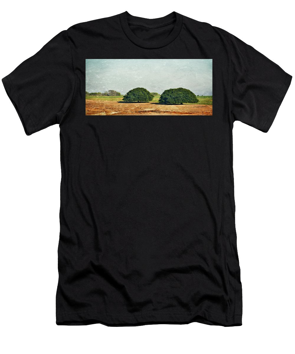 Filter; Texture; Landscape; Trees; Morning Light; Nature; Swartland; South Africa; Green; Meadow; Grass; Plants; Sky; Blue; Background; Rural; Farm Land; Field; Men's T-Shirt (Athletic Fit) featuring the photograph Trees On Field by Werner Lehmann