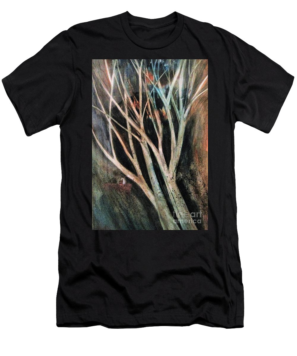 Trees Men's T-Shirt (Athletic Fit) featuring the painting Trees That Tumble by Angela Cartner