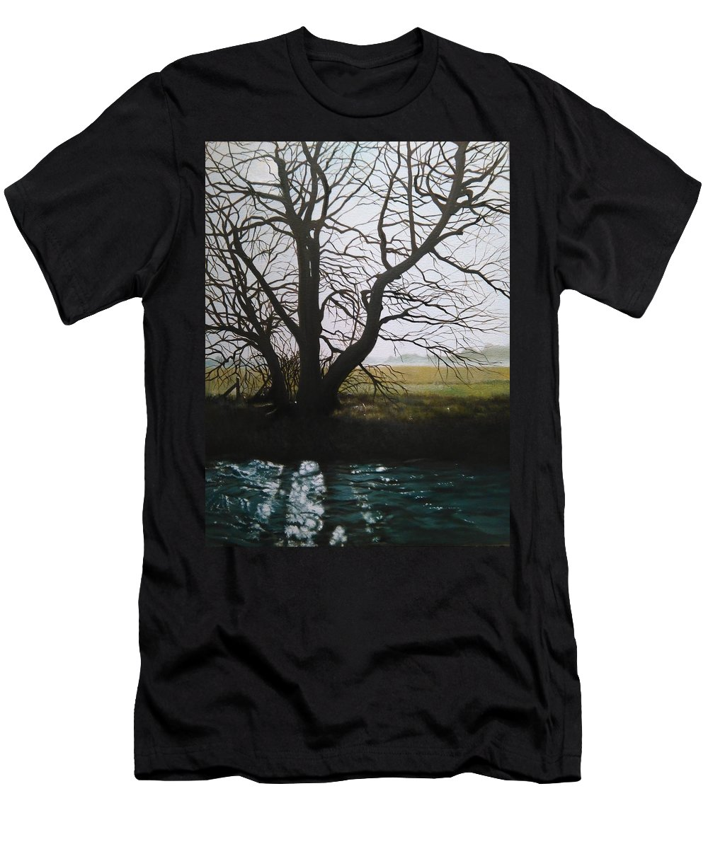 Tree Men's T-Shirt (Athletic Fit) featuring the painting Trent Side Tree. by Caroline Philp