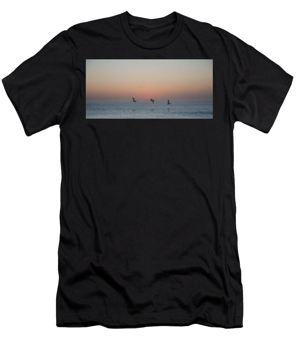 Birds Men's T-Shirt (Athletic Fit) featuring the photograph Triad by Daphney Antoine