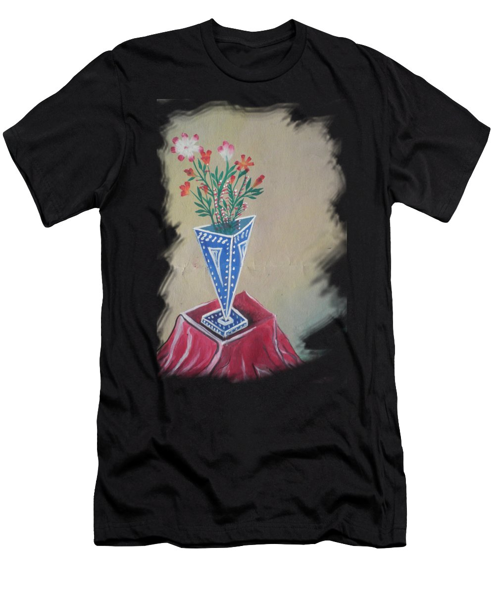 Acrylic Men's T-Shirt (Athletic Fit) featuring the painting Triangle Flower Pot by Artist Nandika Dutt