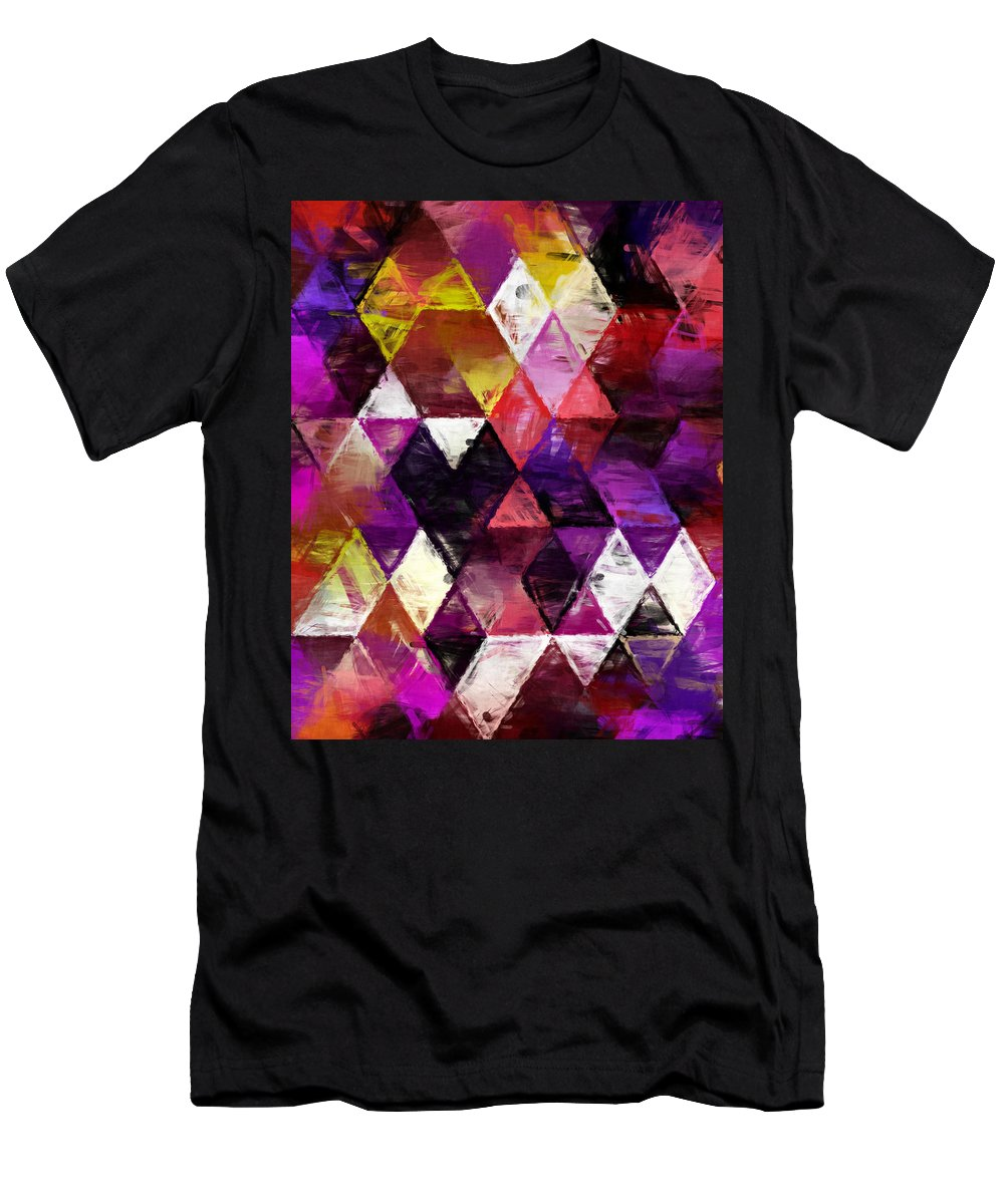 Wallpaper Men's T-Shirt (Athletic Fit) featuring the painting Triangles Impressionism by Kristian Leov