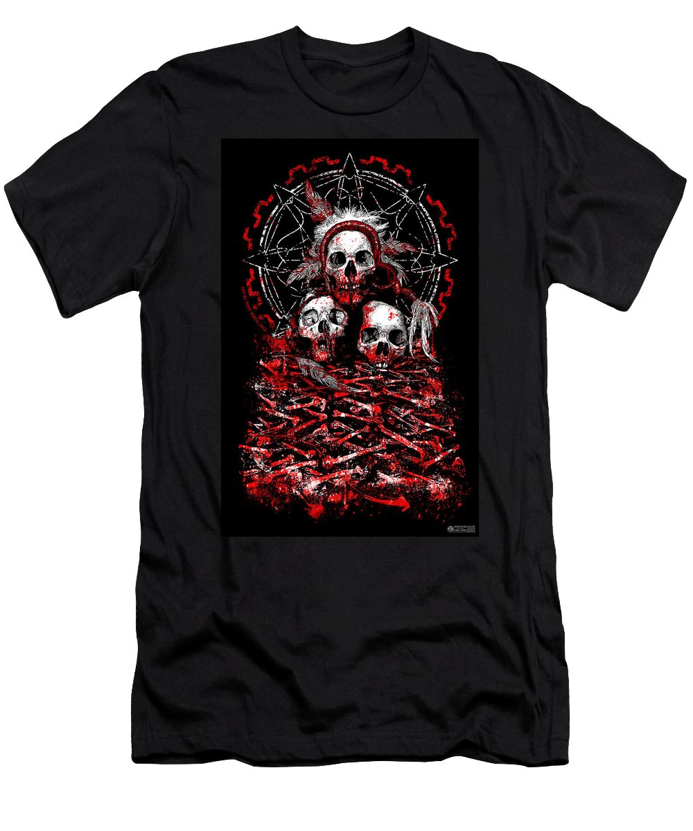 Skull Men's T-Shirt (Athletic Fit) featuring the mixed media Tribal Massacre by Tony Koehl