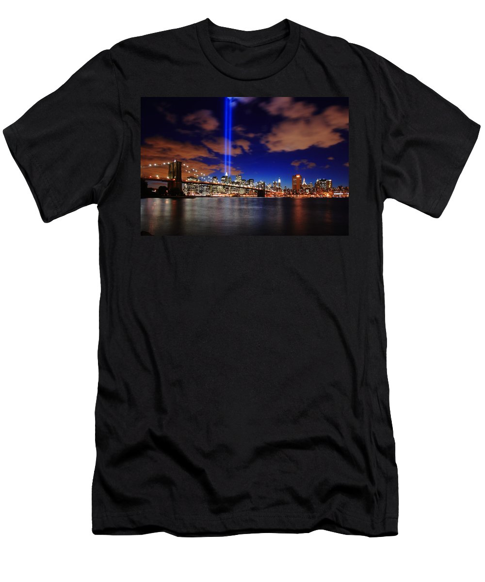 New York City Men's T-Shirt (Athletic Fit) featuring the photograph Tribute In Light by Rick Berk