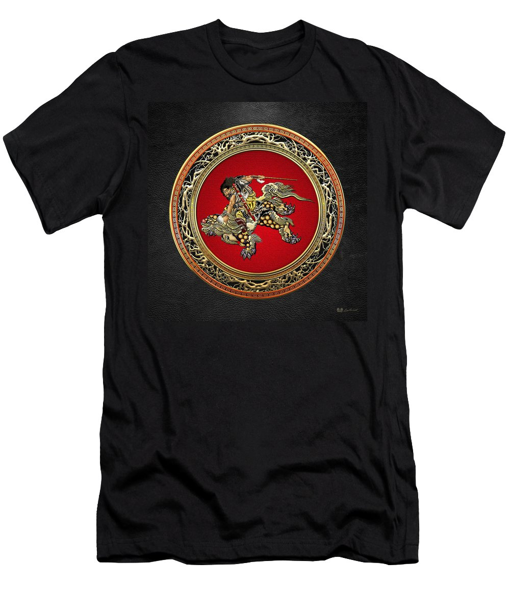 Treasures Of Japan By Serge Averbukh Men's T-Shirt (Athletic Fit) featuring the photograph Tribute To Hokusai - Shoki Riding Lion by Serge Averbukh
