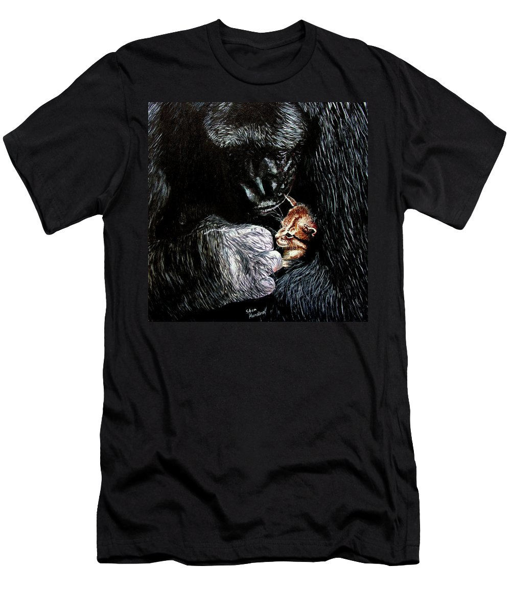 Gorillia Men's T-Shirt (Athletic Fit) featuring the painting Tribute To Koko by Stan Hamilton