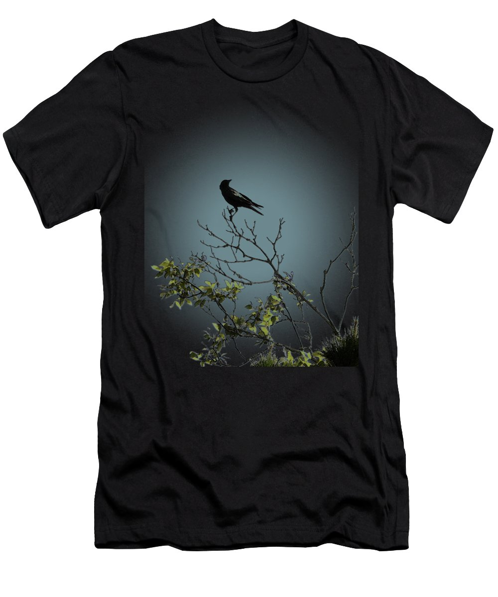 Crow Men's T-Shirt (Athletic Fit) featuring the photograph Trickster Watch by Dora Hembree