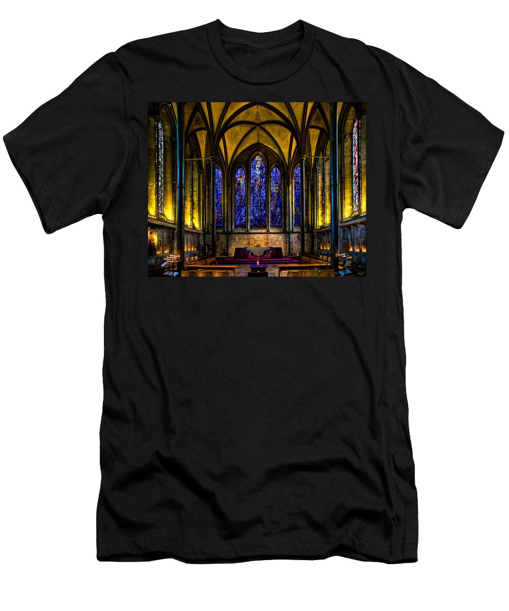 Trinity Men's T-Shirt (Athletic Fit) featuring the photograph Trinity Chapel Salisbury Cathedral by Chris Lord