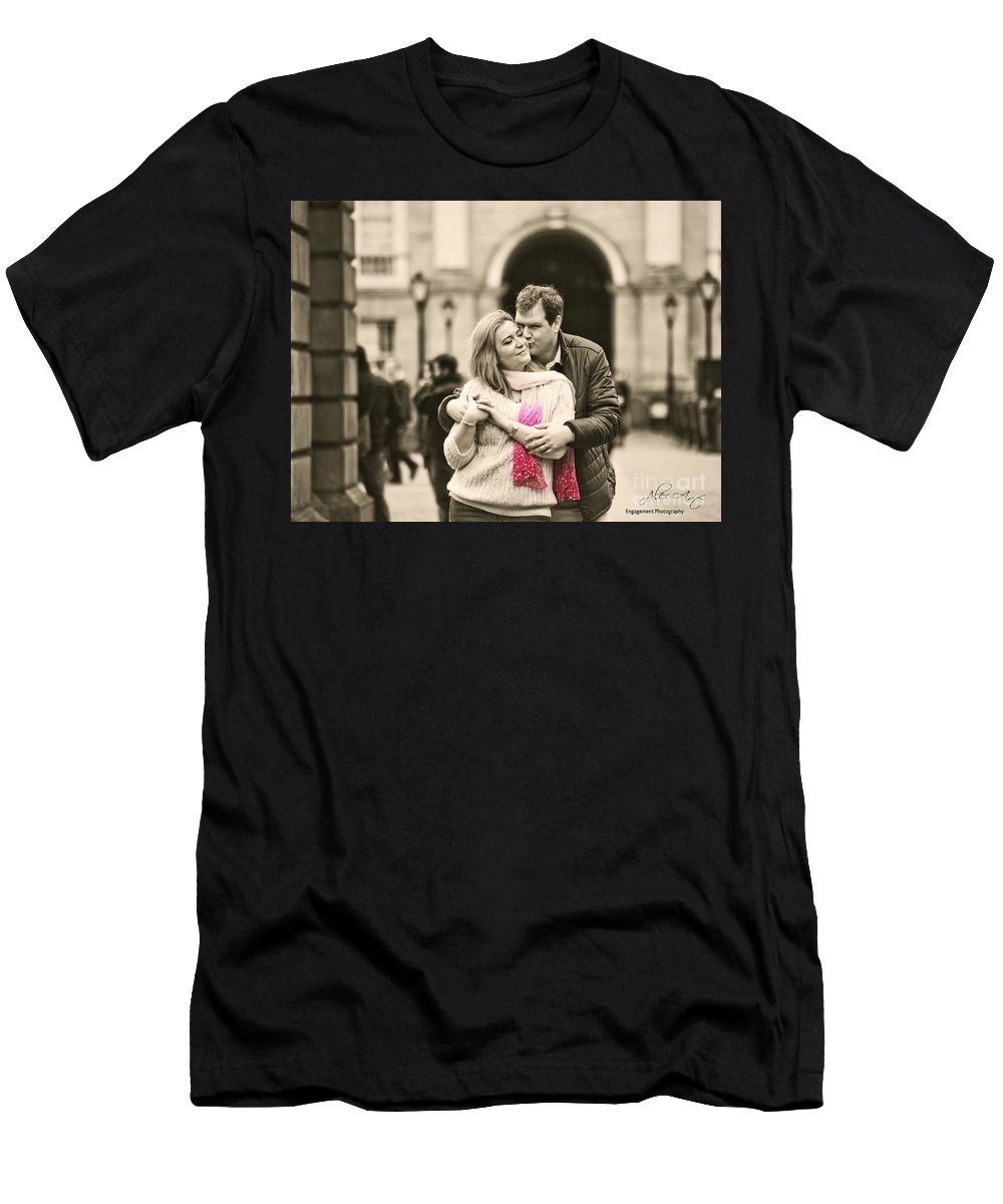 Engagement Men's T-Shirt (Athletic Fit) featuring the photograph Trinity College Kiss by Alex Art and Photo