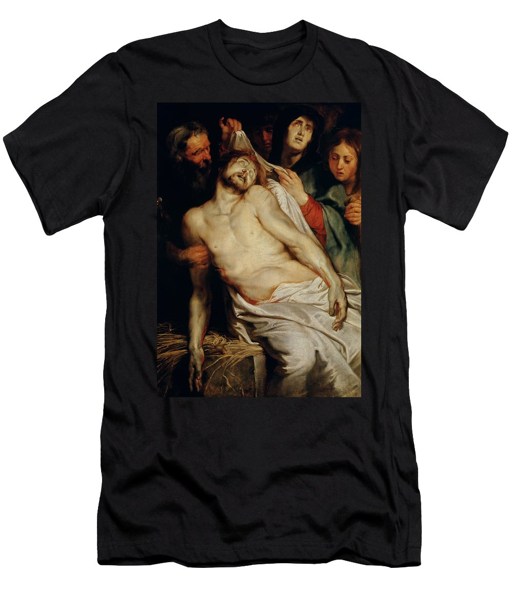 Triptych Of Christ On The Straw Men's T-Shirt (Athletic Fit) featuring the painting Triptych Of Christ On The Straw by Rubens