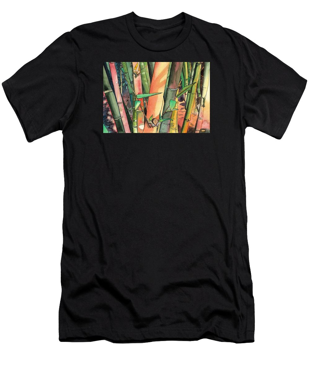 Tropical Bamboo Men's T-Shirt (Athletic Fit) featuring the painting Tropical Bamboo by Marionette Taboniar