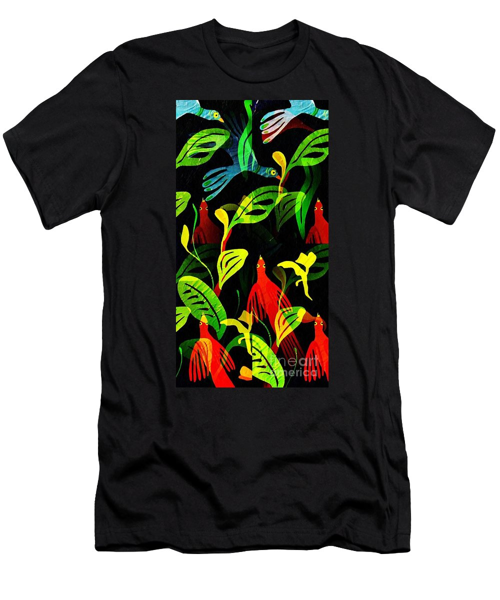 Tropical Men's T-Shirt (Athletic Fit) featuring the mixed media Tropical Flock by Sarah Loft