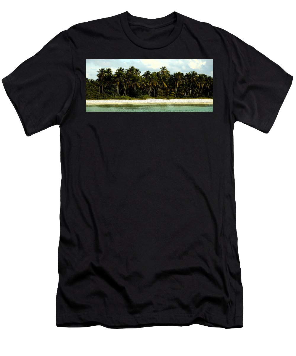 Tropical Men's T-Shirt (Athletic Fit) featuring the painting Tropical Island by David Lee Thompson