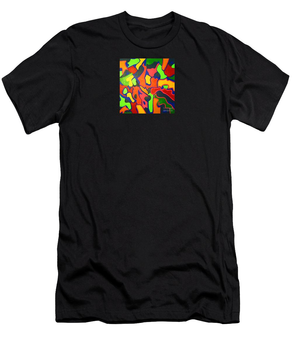 Eunice Broderick Men's T-Shirt (Athletic Fit) featuring the painting Tropical Sunbathers by Eunice Broderick