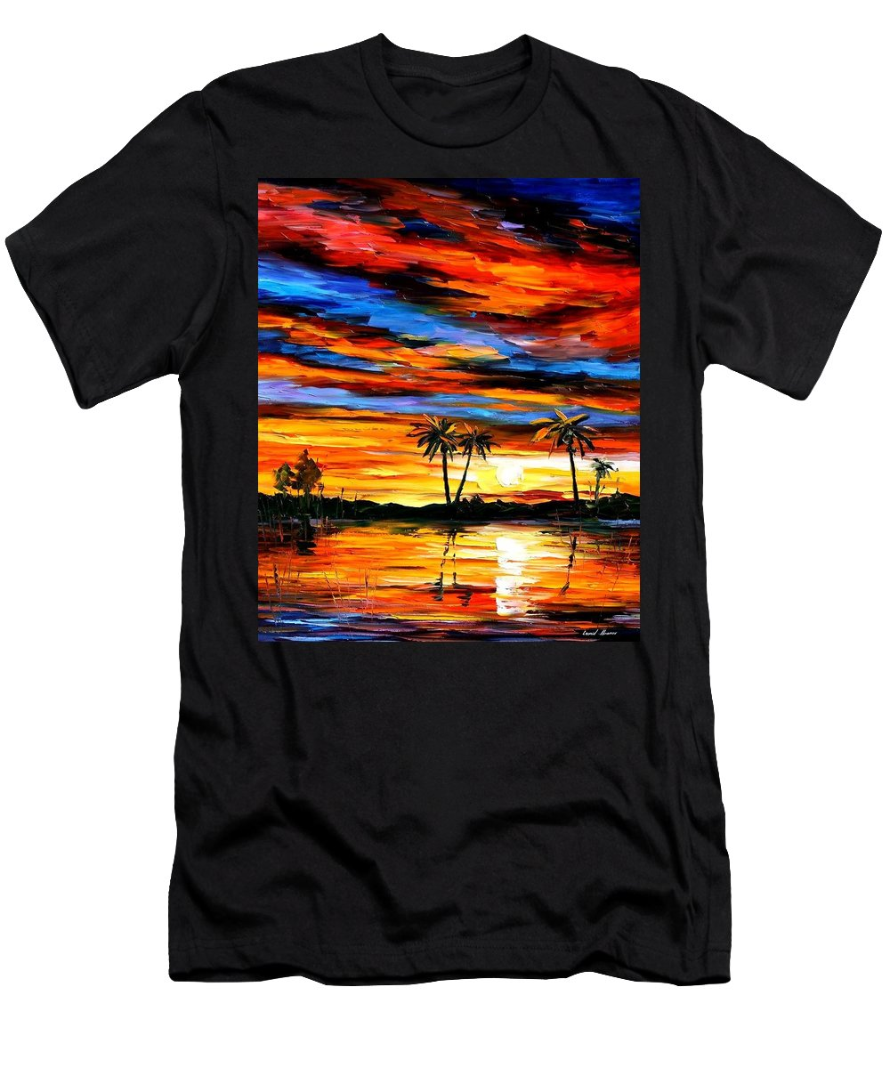 Afremov Men's T-Shirt (Athletic Fit) featuring the painting Tropical Sunset by Leonid Afremov