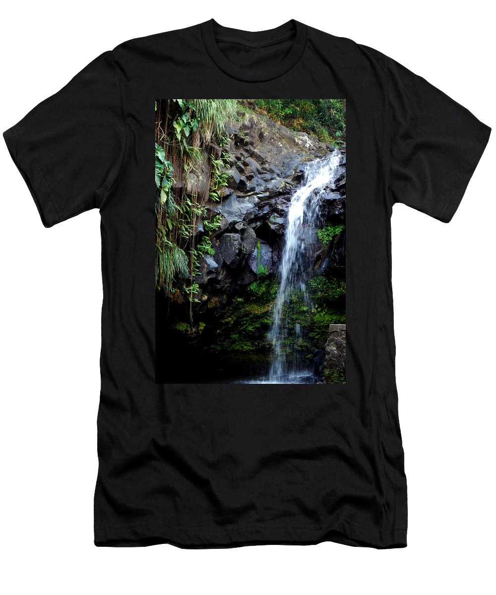Waterfall Men's T-Shirt (Athletic Fit) featuring the photograph Tropical Waterfall by Gary Wonning