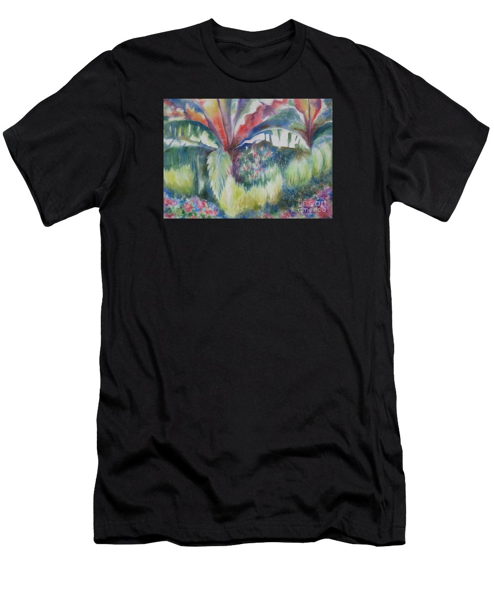 Tropics Men's T-Shirt (Athletic Fit) featuring the painting Tropicana by Deborah Ronglien