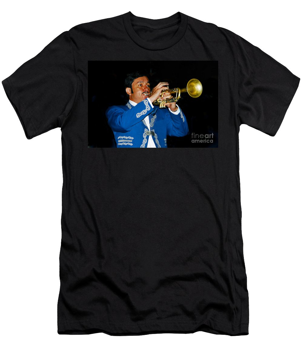 Trumpet5 Men's T-Shirt (Athletic Fit) featuring the photograph Trumpet Player by David Lee Thompson