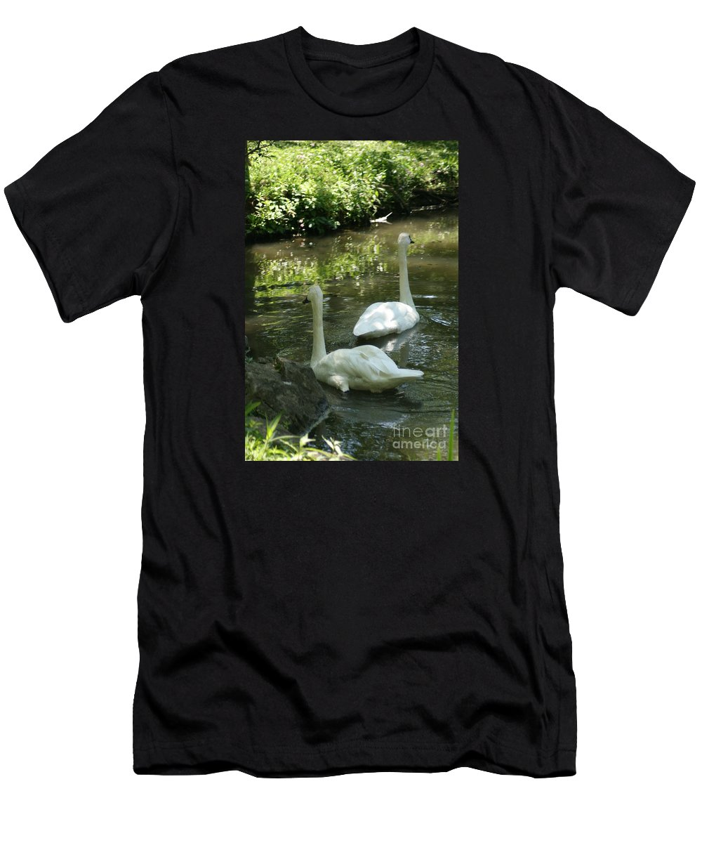 Water Men's T-Shirt (Athletic Fit) featuring the photograph Trumpeter Swans by Dawn Downour