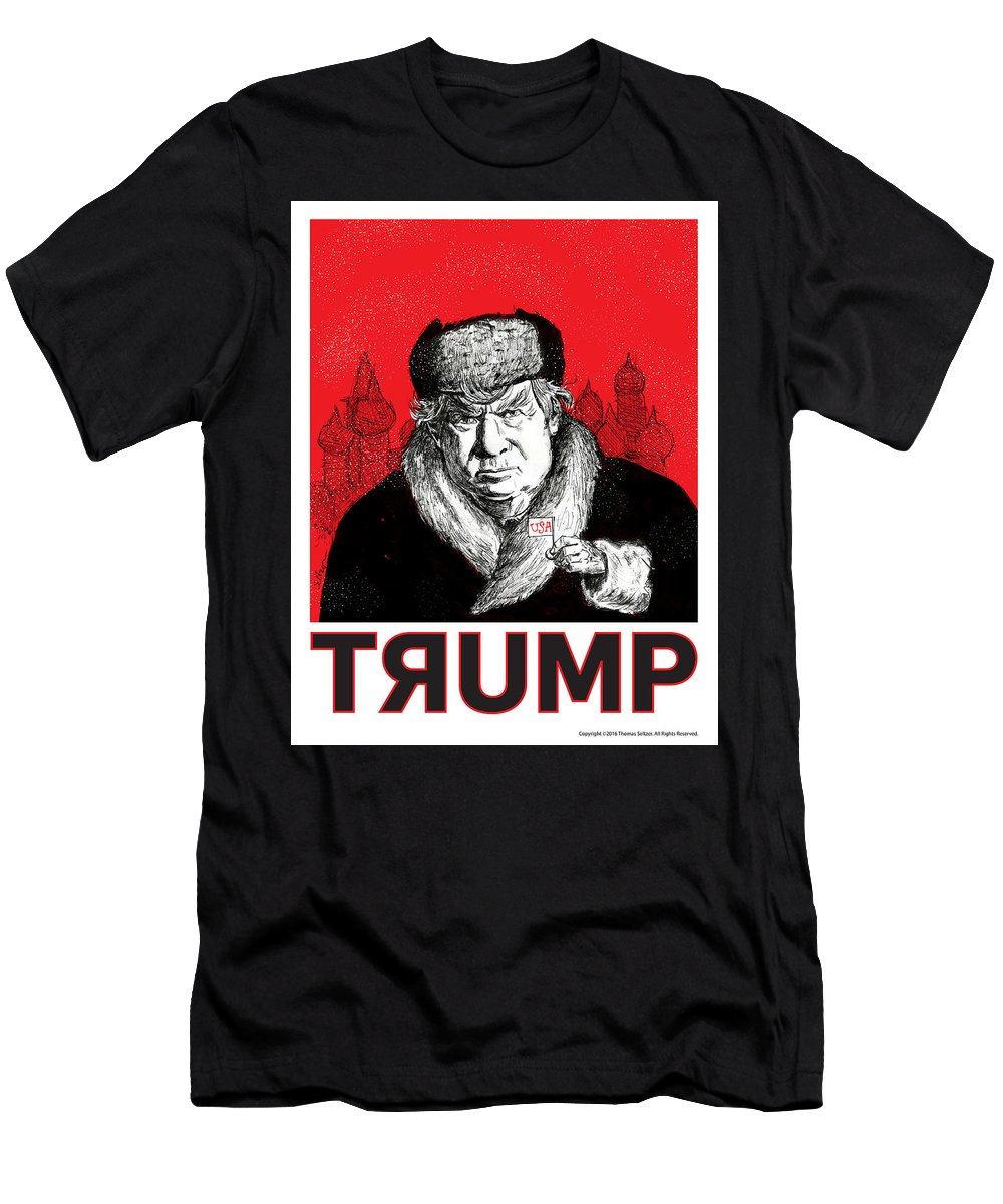 Politics Men's T-Shirt (Athletic Fit) featuring the drawing Trumpski by Thomas Seltzer
