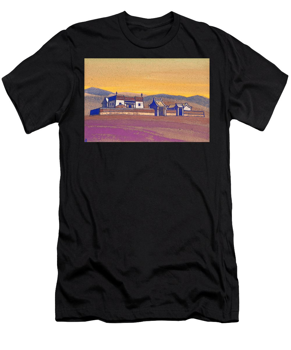Architectural Men's T-Shirt (Athletic Fit) featuring the painting Tsagan-kure, Inner Mongolia by Nicholas Roerich