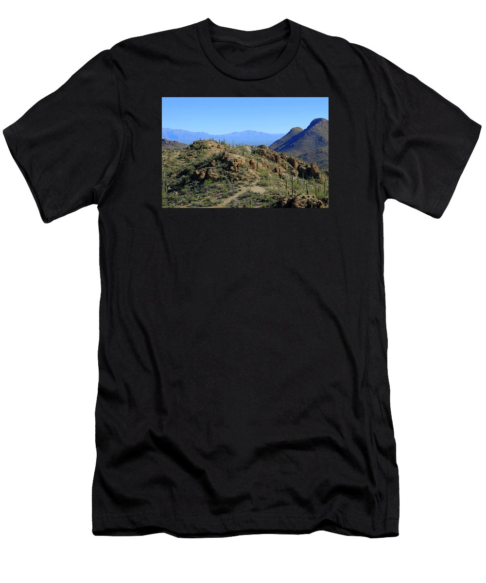 Tucson Men's T-Shirt (Athletic Fit) featuring the photograph Tucson Mountain Ranges by Teresa Stallings
