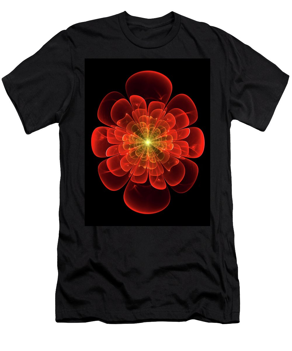 Abstract Men's T-Shirt (Athletic Fit) featuring the digital art Tudor Rose - Abstract by Georgiana Romanovna
