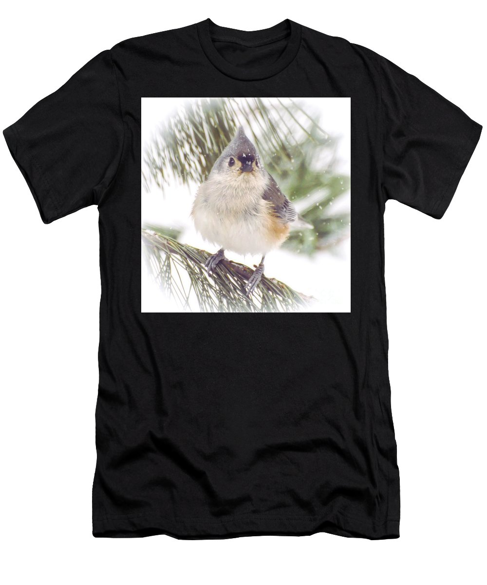 Tufted Titmouse Men's T-Shirt (Athletic Fit) featuring the photograph Tufted Titmouse Snow Face by Kerri Farley