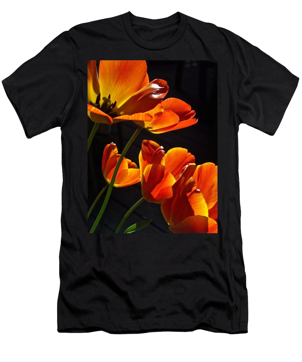 Flowers Men's T-Shirt (Athletic Fit) featuring the photograph Tulip 38 by Pamela Cooper