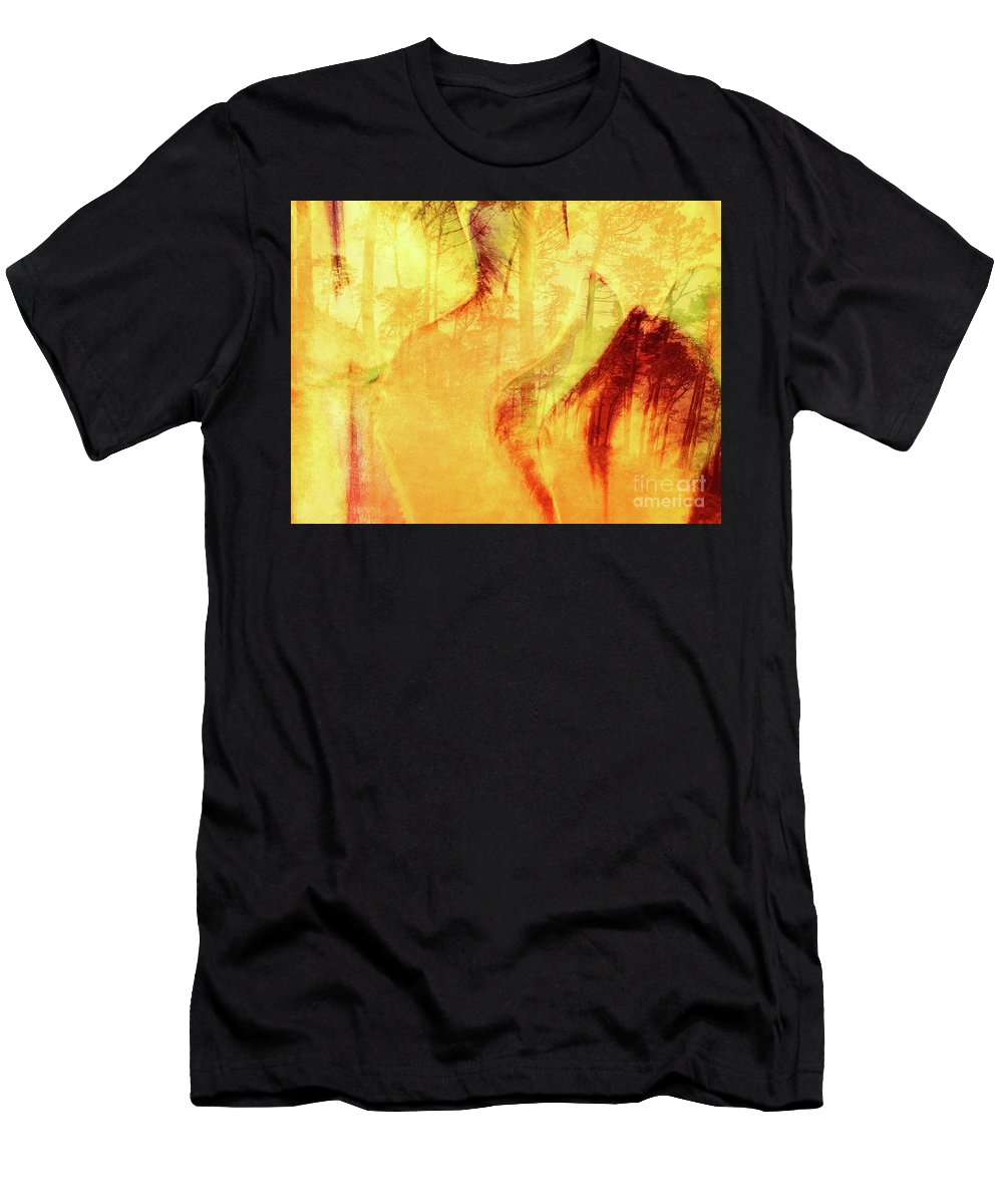 Flowers Men's T-Shirt (Athletic Fit) featuring the photograph Tulip Dawn-2 by Francine Collier