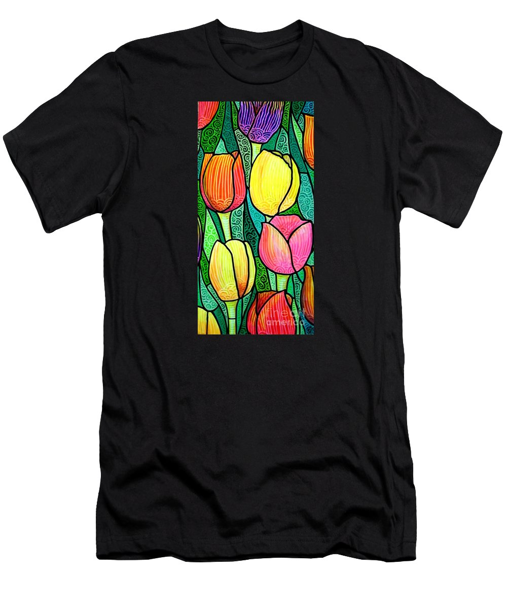 Tulips Men's T-Shirt (Athletic Fit) featuring the painting Tulip Expo by Jim Harris