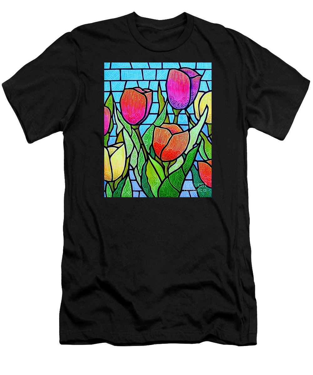 Tulips Men's T-Shirt (Athletic Fit) featuring the painting Tulip Garden by Jim Harris