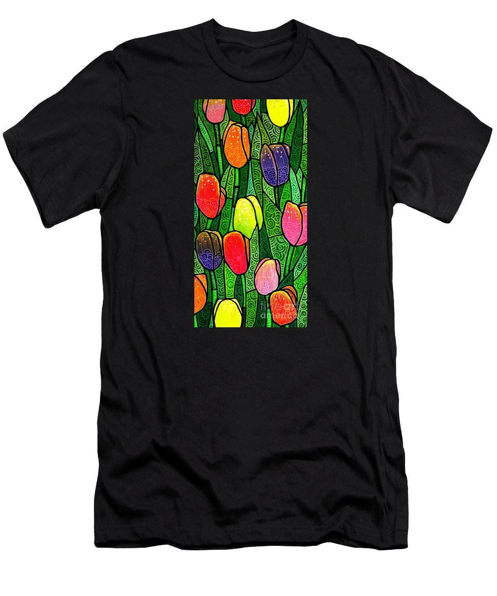 Tulips Men's T-Shirt (Athletic Fit) featuring the painting Tulip Glory by Jim Harris