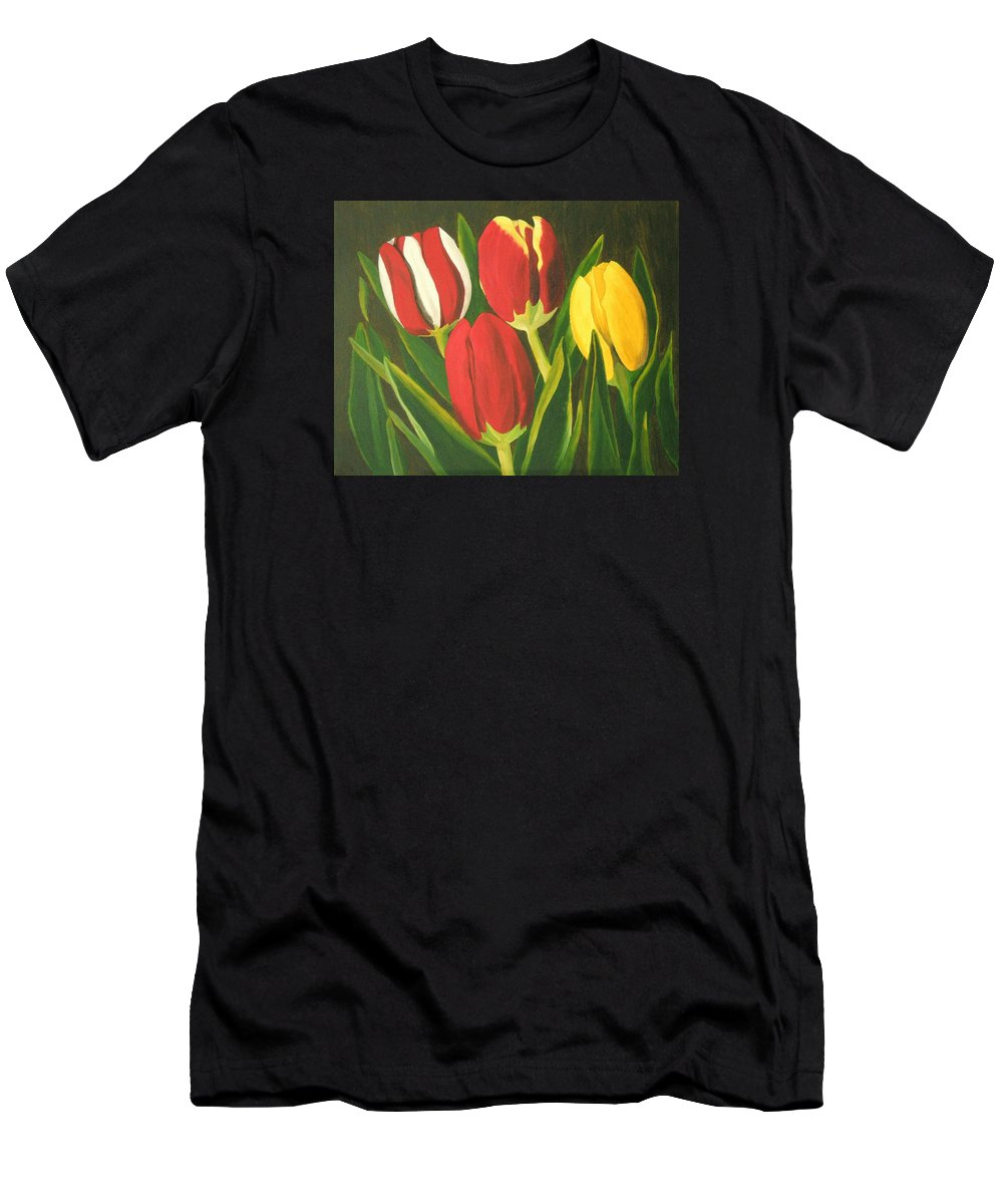 Tulips Men's T-Shirt (Athletic Fit) featuring the painting Tulip Time by Brandy House