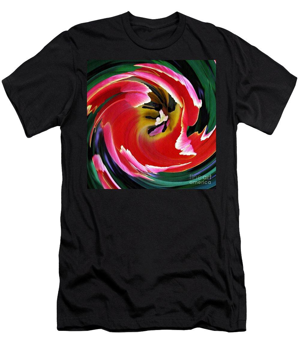Tulip Men's T-Shirt (Athletic Fit) featuring the photograph Tulip Twist by Sarah Loft